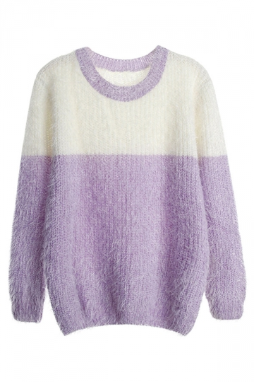 Womens Crew Neck Color Block Mohair Pullover Sweater Purple