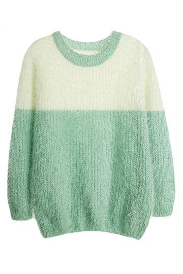 Womens Crew Neck Color Block Mohair Pullover Sweater Green