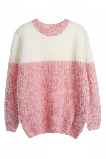 Womens Crew Neck Color Block Mohair Pullover Sweater Pink