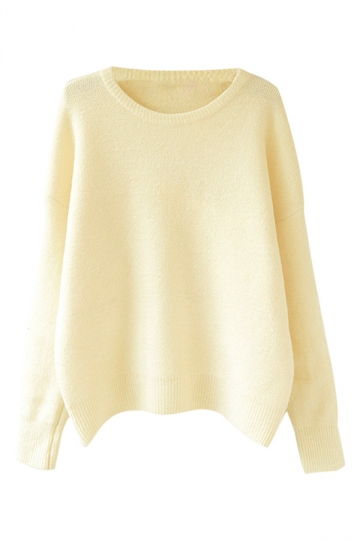 Womens Casual Crewneck Long Sleeve Pullover Sweater Beige White