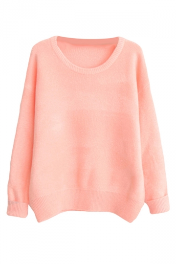 Womens Casual Crewneck Long Sleeve Pullover Sweater Pink