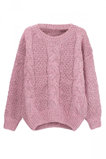 Womens Crew Neck Cable Knit Pullover Sweater Pink