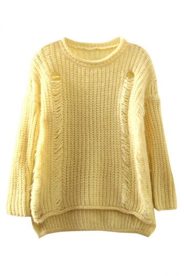 Womens Pretty Ripped High Low Pullover Sweater Beige White