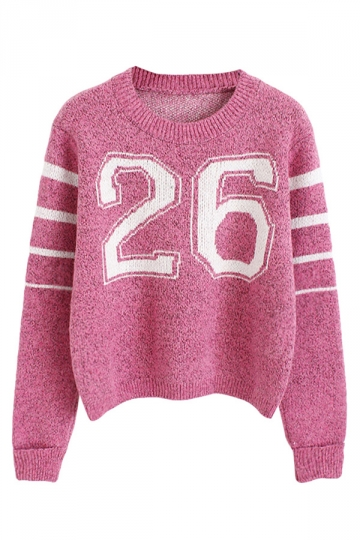 Womens Pretty 26 Printed Long Sleeve Pullover Sweater Pink