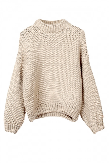 Womens Stand Collar Long Sleeve Knitted Sweater Beige White