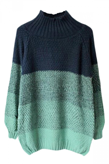 Womens Stand Collar Gradient Fair Isle Pullover Sweater Green