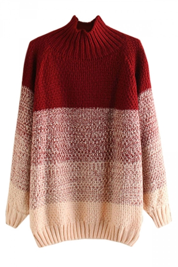 Womens Stand Collar Gradient Fair Isle Pullover Sweater Ruby