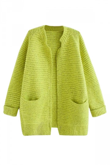 Womens Pretty Long Sleeve Pockets Cardigan Sweater Green