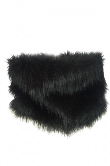 Womens Chic Faux Fur Winter Warm Wrap Scarf Black