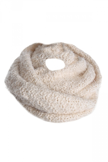 Womens Pretty Mohair Warm Wrap Collar Scarf Beige White