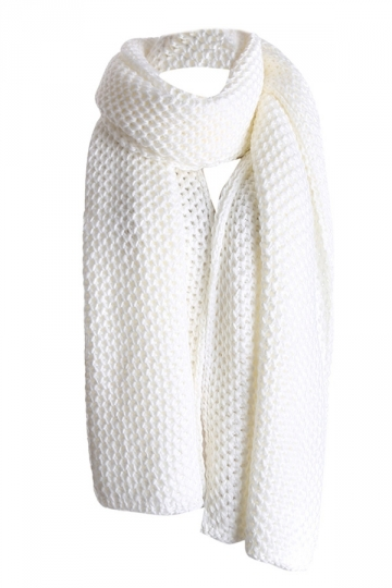 Womens Pretty Winter Warm Knitted Scarf White