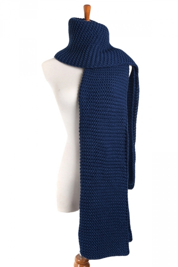 Womens Trendy Warm Long Knitted Scarf Blue