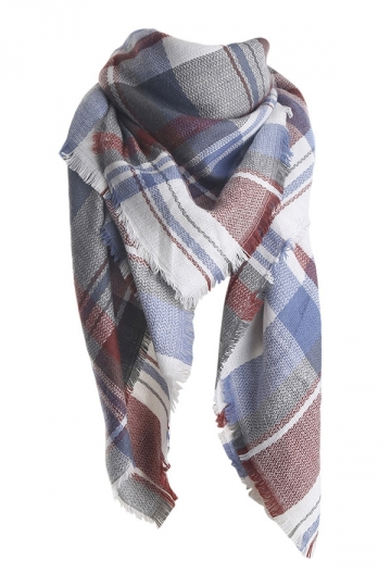 Womens Fashion Warm Plaid Shawl Scarf Blue