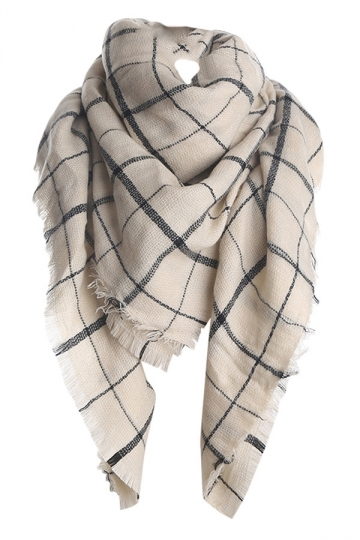 Womens Fashion Warm Plaid Shawl Scarf Beige White