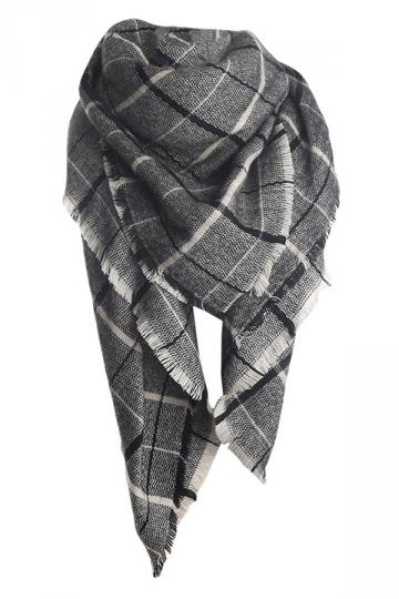 Womens Fashion Warm Plaid Shawl Scarf Dark Gray