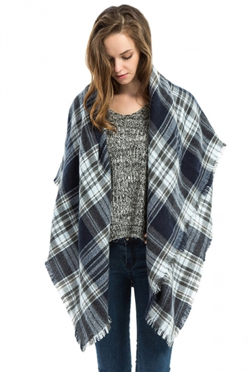 Womens Fashion Warm Plaid Shawl Scarf Gray