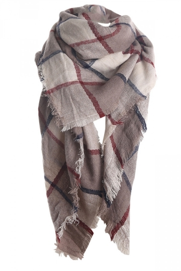 Womens Fashion Warm Plaid Shawl Scarf Khaki