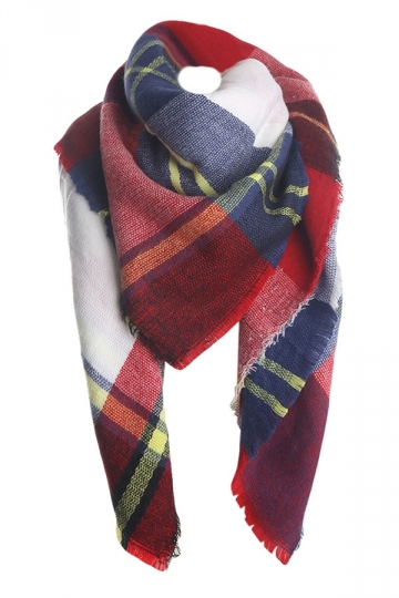 Womens Fashion Warm Plaid Shawl Scarf Red