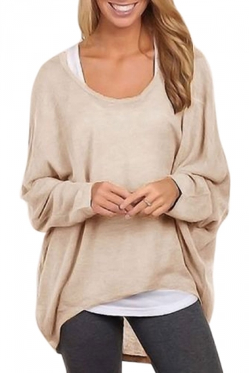 Womens Casual High Low Long Sleeve Tee Shirt Beige White