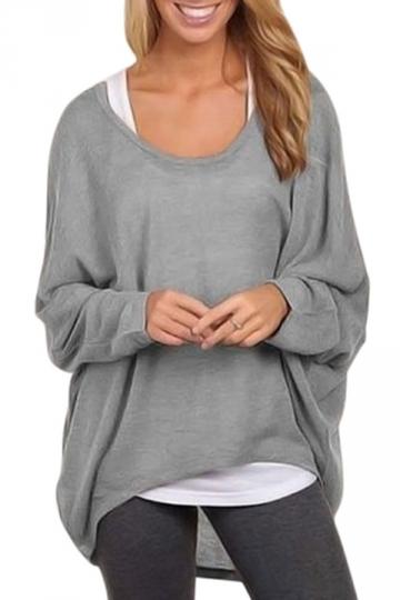 Womens Casual High Low Long Sleeve Tee Shirt Gray