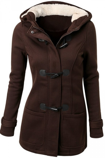Womens Pretty Hooded Long Sleeve Three Buttons Coat Brown