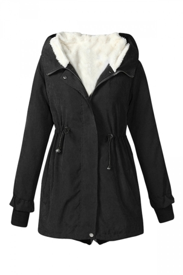 Womens Drawstring Front Thick Warm Hooded Zipper Parka Overcoat Black