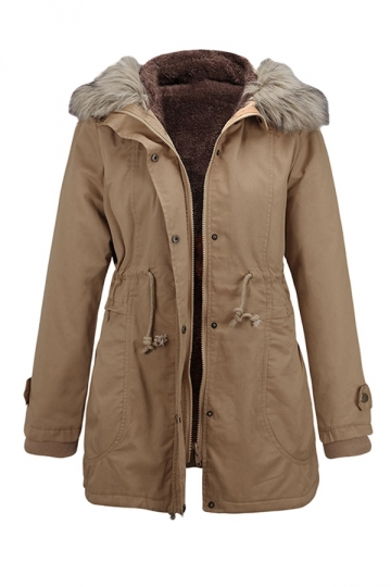 Womens Fur Collar Hooded Zipper Thick Warm Slim Cotton Overcoat Khaki