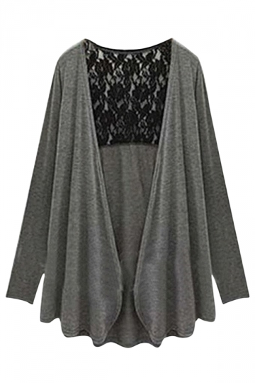 Womens Plain Plus Size Long Sleeve Lace Spliced Cardigan Gray