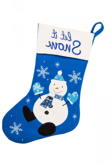 Womens Pretty Snowman Patterned Christmas Stocking Accessory Blue