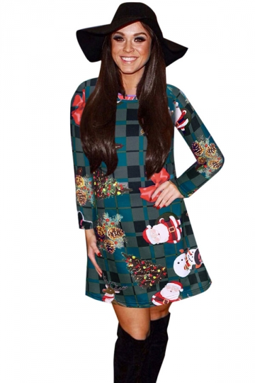 Womens Plaid Ugly Christmas Printed Long Sleeve Midi Dress Gray ...