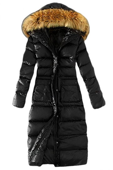 Womens Slim Fur Collar Zipper Hooded Pockets Lengthen Down Coat Black