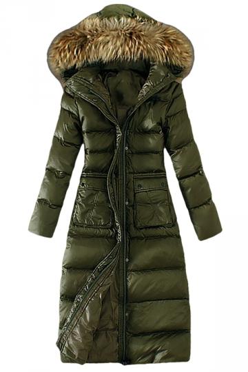 Womens Slim Fur Collar Zipper Hooded Pockets Lengthen Down Coat Green