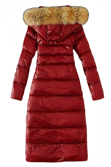 Womens Slim Fur Collar Zipper Hooded Pockets Lengthen Down Coat Red