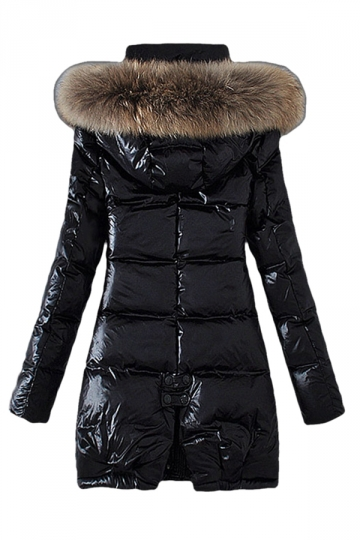 Womens Slim Raccoon Fur Collar Thick Hooded Long Down Coat Black