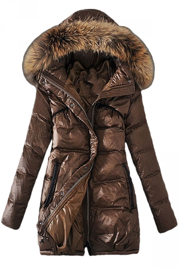 Womens Slim Raccoon Fur Collar Thick Hooded Long Down Coat Coffee