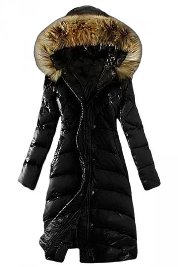 Womens Plain Slim Fur Collar Hooded Zipper Lengthen Down Coat Black