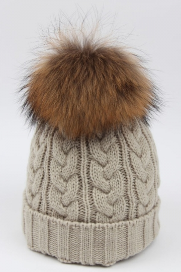 Womens Plain Warm Real Raccoon Fur Pom Pom Cable Knit Hat Beige White