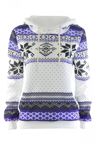 Womens Loose Long Sleeve Snowflake Printed Thick Fleece Hoodie Purple