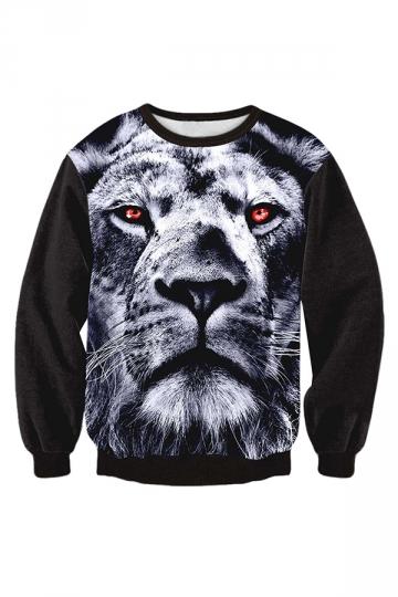 Womens Fashion Long Sleeve Tiger Printed Sweatshirt Black