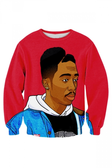 Womens Crewneck Long Sleeve Tupac 3D Printed Sweatshirt Red