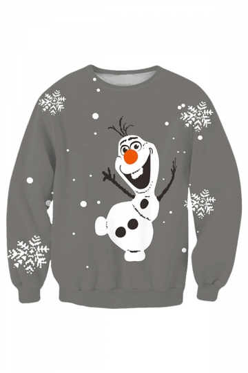Womens Cute Long Sleeve Olaf Printed Christmas Sweatshirt Gray