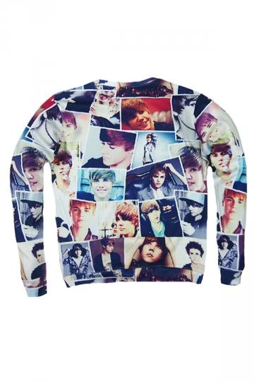 Womens Character Justin Bieber 3D Print Pullover Sweatshirt Gray