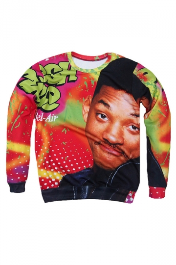 Womens Character Will Smith 3D Print Pullover Sweatshirt Red
