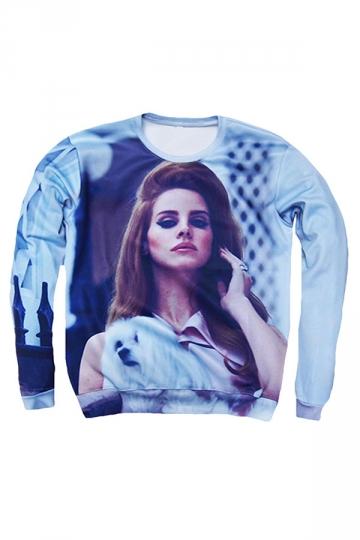 Womens Character Lana Del Rey 3D Print Pullover Sweatshirt Blue