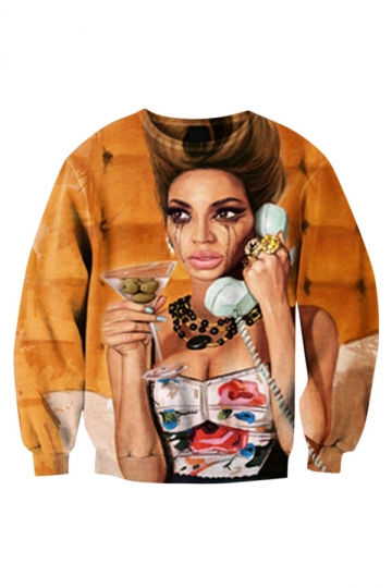 Womens Desperate Housewives Design 3D Print Pullover Sweatshirt Yellow