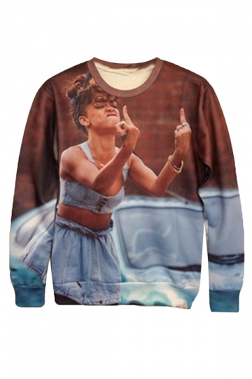 Womens Funny Rihanna Middle Finger 3D Print Pullover Sweatshirt Brown