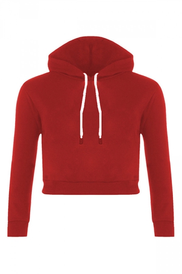 Womens Sexy Active Drawstring Long Sleeve Cropped Hoodie Red