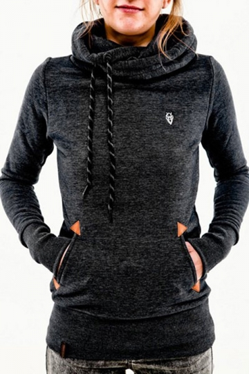 Womens Stylish Long Sleeve Pocket Design Embroidered Hoodie Black