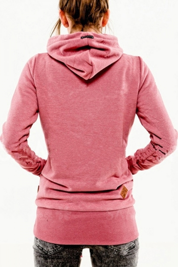 Womens Stylish Long Sleeve Pocket Design Embroidered Hoodie Pink