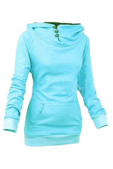 Womens Plain High Collar Button Kangaroo Pocket Pullover Hoodie Blue